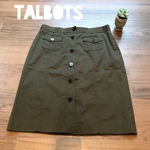 Talbots Olive Green Buttons Stretch A-Line Skirt